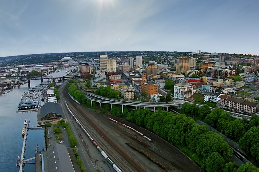 Aerial view of downtown Tacoma
